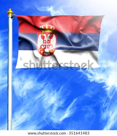 Blue sky and mast with hanged waving flag of Serbia