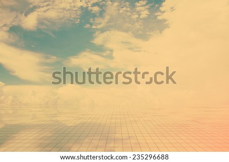 blue sky and miror floor, cloudy background, retro film filtered, instagram style  - stock photo