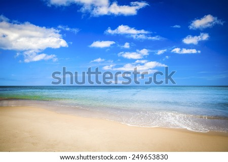 Blue sky and ocean beach in Portugal  - stock photo