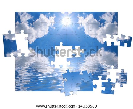 Blue sky and reflection in water as of puzzle - stock photo
