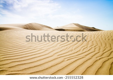 Blue sky and sand dunes. Canary islands, Maspalomas. Spain.  - stock photo