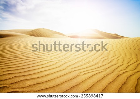 Blue sky and sand dunes. Canary islands, Maspalomas. Spain.