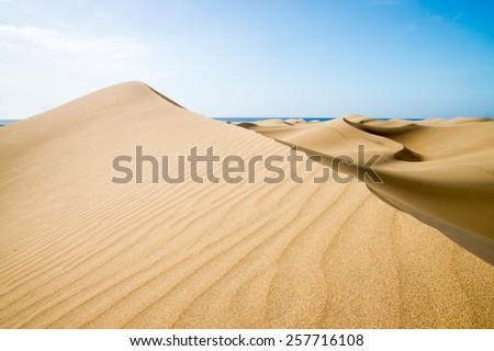 Blue sky and sand dunes. Canary islands, Maspalomas.  The sea on the horizon. - stock photo
