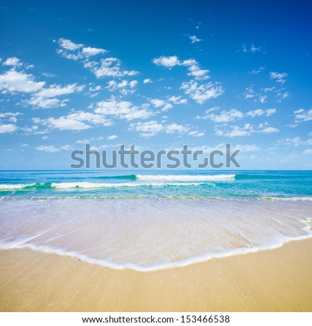 blue sky and sea or ocean beach - stock photo
