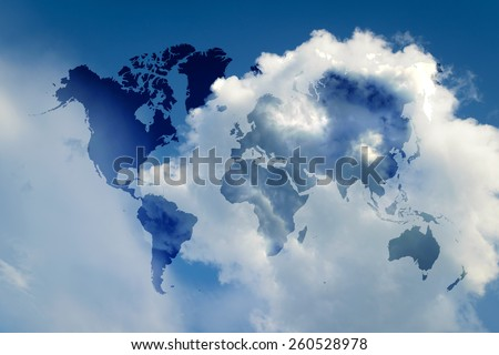 Blue sky and sunlight with world map - stock photo