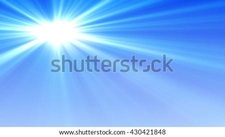 Blue Sky and Sunshine Background  - stock photo