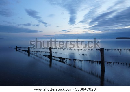 Blue sky and water after sunset in Denmark