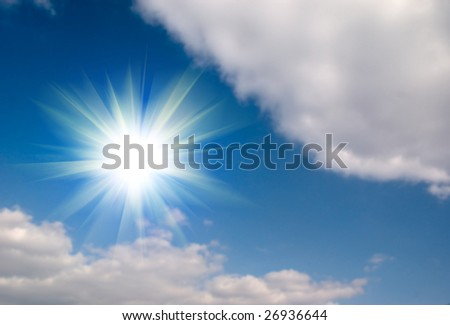 Blue sky and water background
