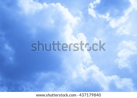 Blue sky and white cloud background - stock photo