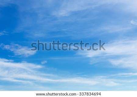 blue sky and white cloud, fluffy cloudy sky background - stock photo