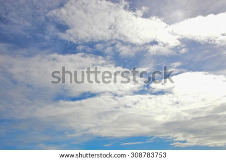 Blue sky and white cloud in rainy