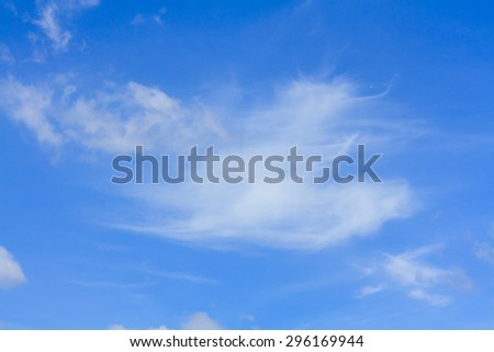Blue sky and white cloud on summer. Good weather day background.