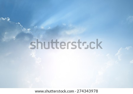 Blue sky and white cloud with sun light - stock photo