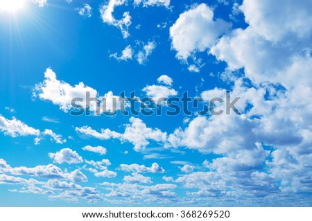 Blue sky and white clouds in Helsinki, Finland. - stock photo