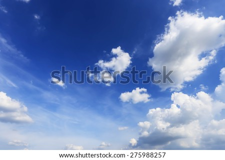 Blue sky and white clouds natural background.