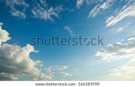 Blue sky and white clouds, nature background - stock photo