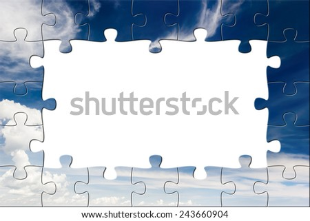 Blue sky and white clouds. Puzzle background - stock photo