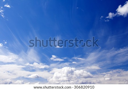 Blue sky and white clouds. Summer sky - stock photo