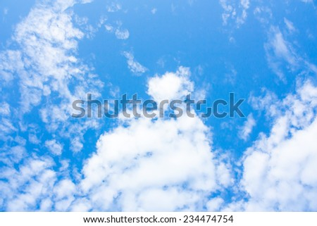 Blue sky and white heart clouds