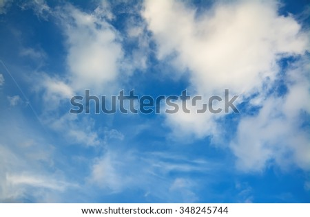blue sky and white soft clouds - stock photo
