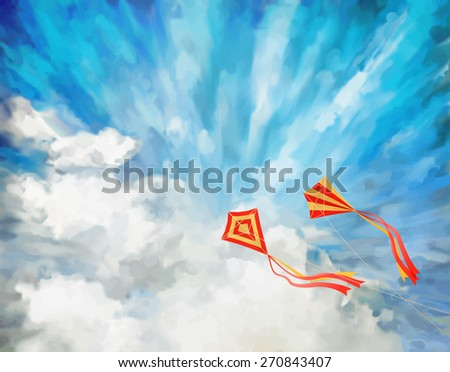 Blue sky artistic background  with white fluffy clouds, flying kites