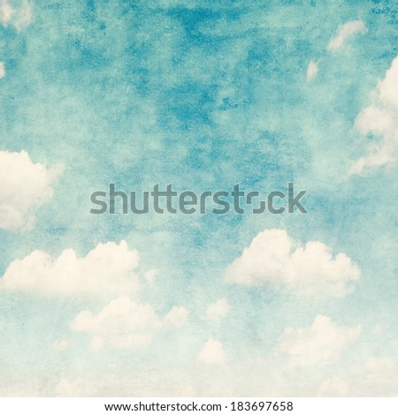 Blue sky background in grunge and retro style.