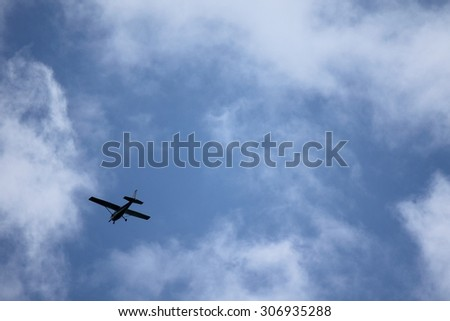 Blue sky background texture airplane fly away cloud