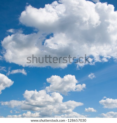 Blue sky background with light clouds - stock photo