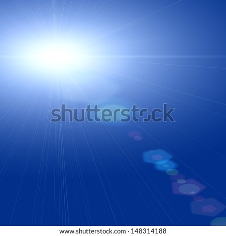 blue sky background with sun reflections