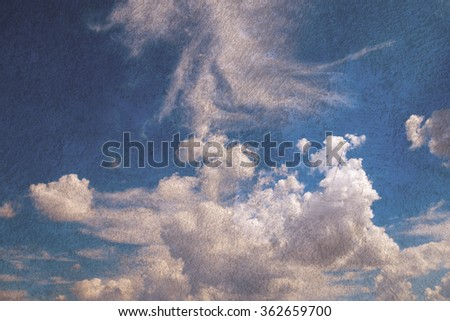 blue sky background with tiny clouds cool - stock photo