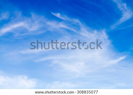 Blue sky background with white clouds.Blur or Defocus image.