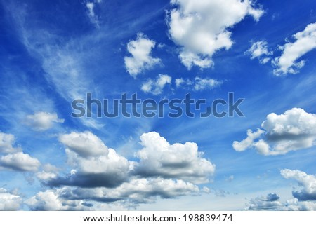 blue sky background with white clouds in summer - stock photo