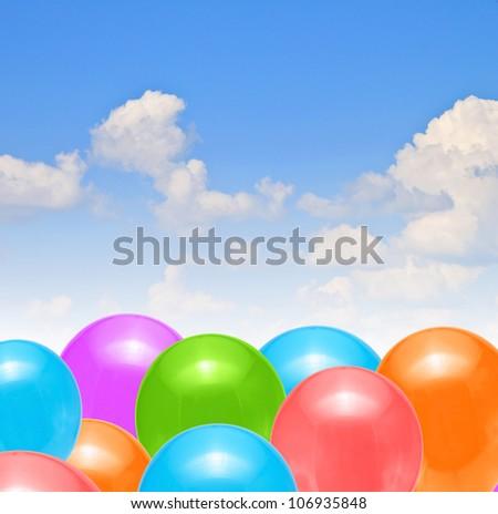 blue sky balloons - stock photo