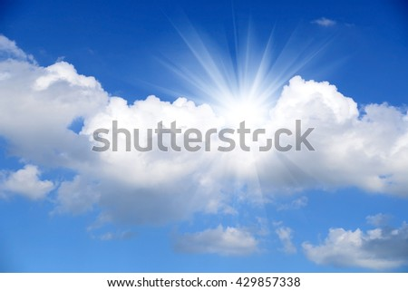 Blue sky , cloud and sun rise