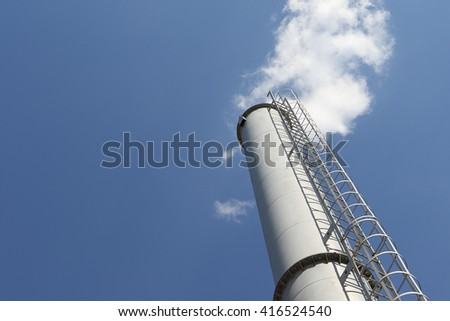 blue sky. cloud. factory chimney. environmental concept. ecology. greenhouse gases.  - stock photo