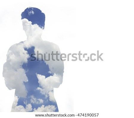 blue sky cloud inside human shape on white background