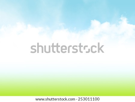 Blue sky, clouds and green field summer abstract background  - stock photo