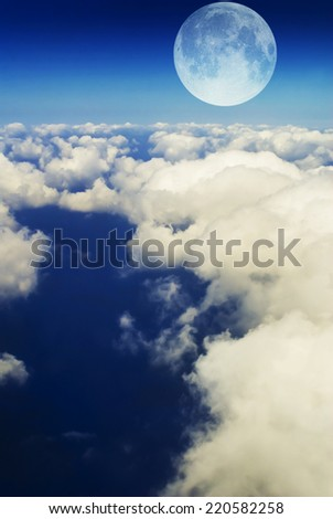 Blue sky, clouds and moon