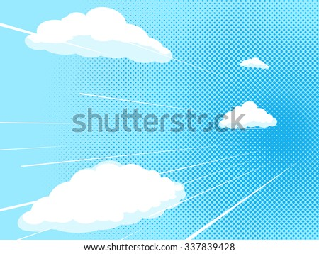 Blue sky comic book pop art halftone texture style raster illustration