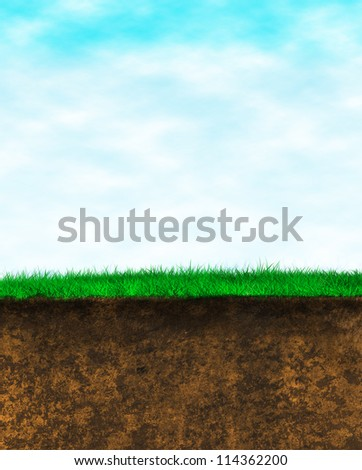 Blue sky green grass brown earth background. portrait oriented cut out...  Wild grass over the rich texture surface - stock photo