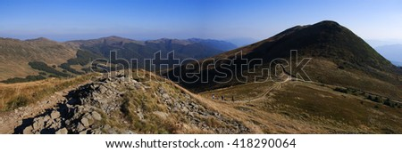 blue sky in the mountain. Landscape, panorama of Bieszczady - stock photo