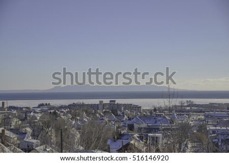 blue sky Landscape view from thunder bay ontario in winter