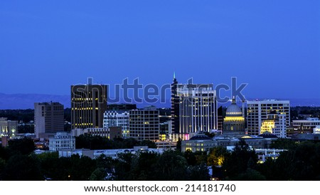 Blue sky of night over the city of Boise Idaho - stock photo