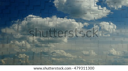 Blue sky on the horizon nature clean air clouds season summer autumn background abstract minimalism textures square shape