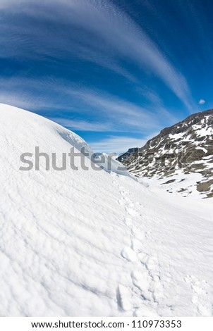 blue sky over snow in Norway