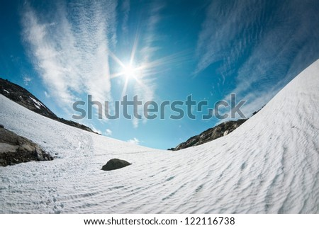 blue sky over snow in Norway - stock photo
