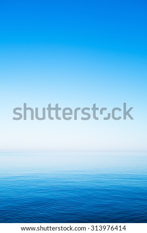 Blue sky over the sea in summer - stock photo