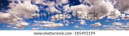 blue sky panorama with clouds - stock photo