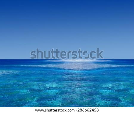 Blue sky sea scape - stock photo
