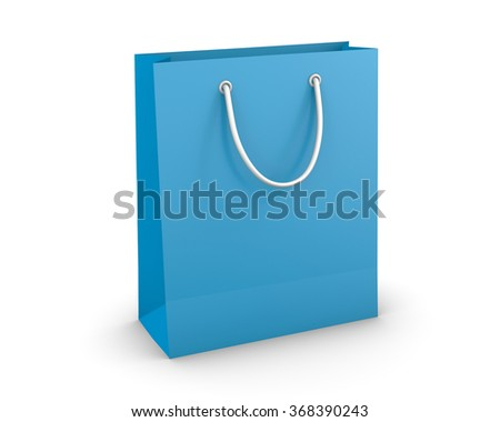 blue sky shopping paper bag isolated on white background, illustration.